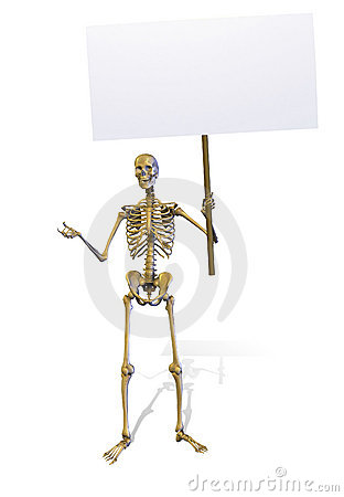 Skeleton Holding a Blank Sign - includes clipping path