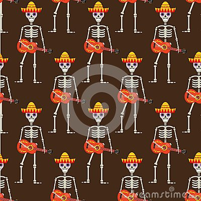 Free Skeleton In Sambrero Guitar Seamless Pattern. Skull Mexican Repeating Texture.Day Of The Dead Or The Halloween Endless Royalty Free Stock Photography - 100876047