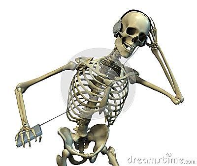 Skeleton Listening to Music