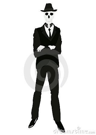 Skeleton of the person in suit