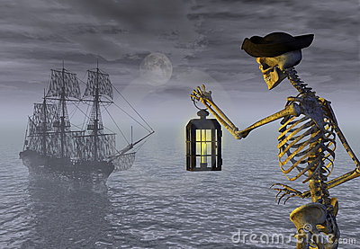 Skeleton Pirate and Ghost Ship