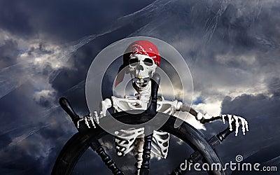 Skeleton Pirate Steering Ship Wheel Stock Photo Image