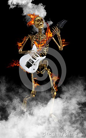 Free Skeleton Playing Electric Guitar Rock And Roll Royalty Free Stock Photography - 104143757