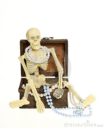Skeleton sitting in Treasure Chest CLIPPING PATH