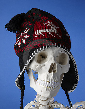 Skeleton with winter hat