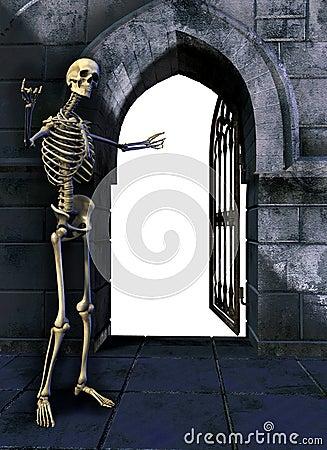 Free Skeleton With Gate Royalty Free Stock Photos - 228678