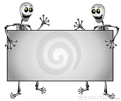 Skeletons Holding Blank Sign