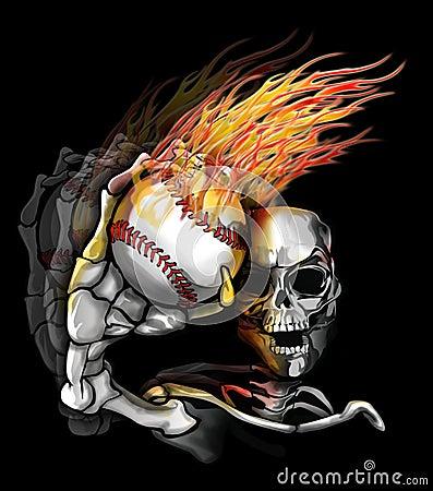 Baseball Tattoos on Stock Photo Skelton Throwing Flaming Baseball Image 10568120