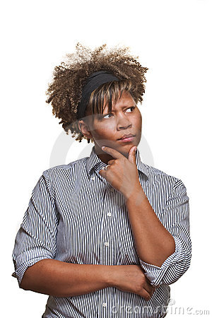 Free Skeptical Young African Woman Looks Away Stock Images - 20863084