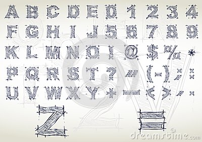 Sketch alphabet. Vector illustration