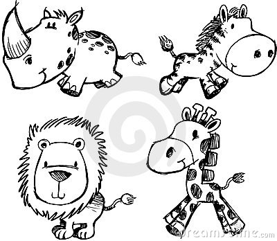 Sketch Animal Set Vector