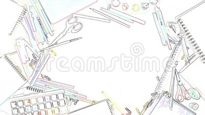 Sketch Animation Drawing Tools For Titles Or Designer Logo Looped Stop Motion Stock Footage Video Of Frame Motion 163024184