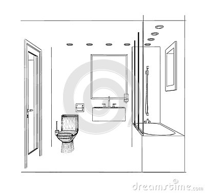 Sketch Bathroom Royalty Free Stock Photography Image 29980857