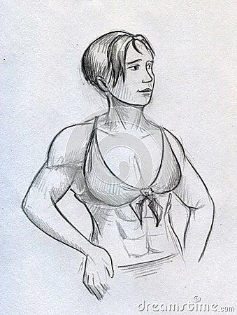 Sketch of a beautiful muscular girl