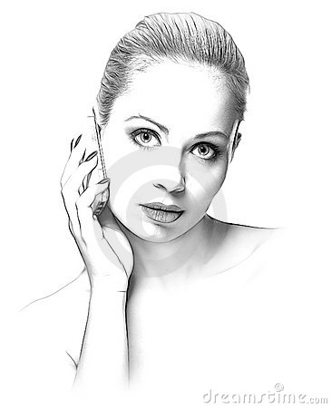 Sketch of beauty woman with a mobile phone