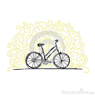 Sketch of bicycle on ornamental wall for your