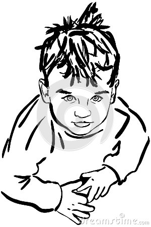 Sketch boy with the dishevelled hair
