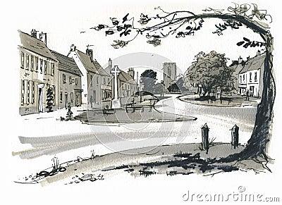 Sketch of Burhham Market, Norfolk, UK