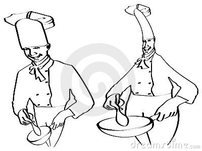Sketch of chefs cooking