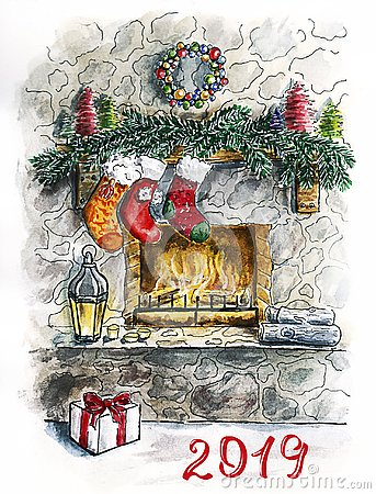 Sketch Christmas Card with Fireplace Stock Photo