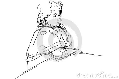 Sketch of complete woman being at a table