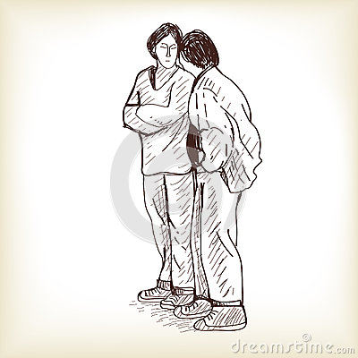 Sketch couple standing and talking, free hand draw vector illust Vector Illustration