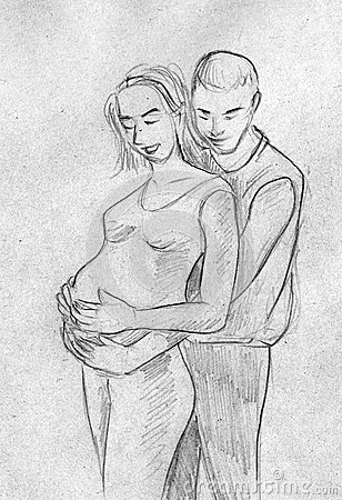 Sketch of a couple waiting for a baby