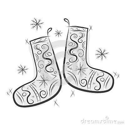 Sketch of cute felt boots for your design
