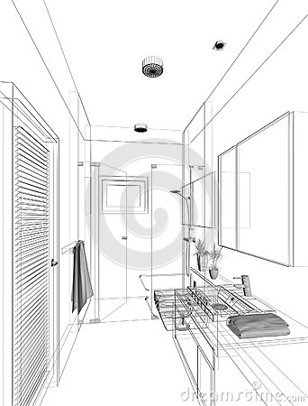 Sketch Design Of Interior Bathroom Stock Photography Image 36944692