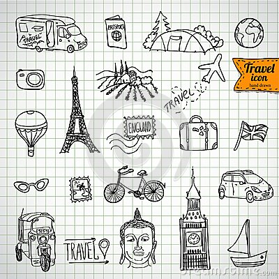 Sketch doodle icon collection, picnic,