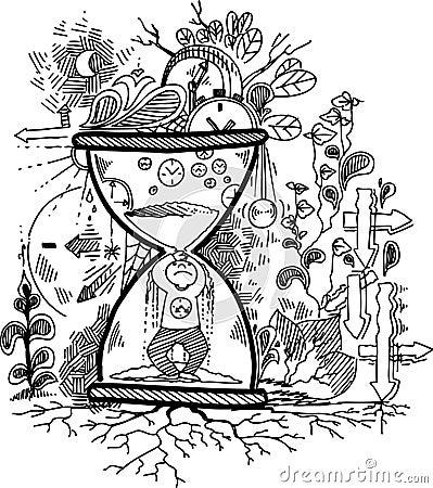 Sketch doodles: TIME vector
