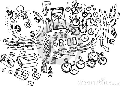 Coloring Sketch doodles: Time
