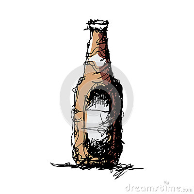 Sketch Drawing Of A Beer Bottle Stock Vector Image 42803862