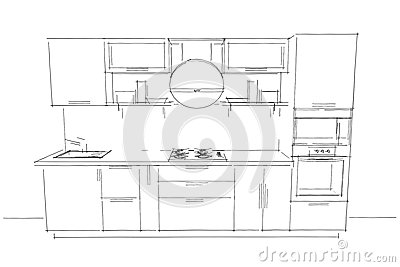 Sketch Drawing Of 3d Modern Kitchen Interior With Round Hood Stock Illustration Image 84063848