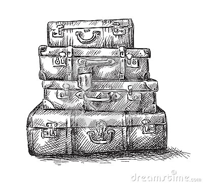 Sketch drawing of luggage bags