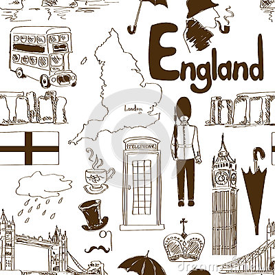 Sketch England seamless pattern