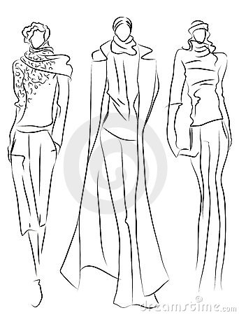 Sketch of fashion suits