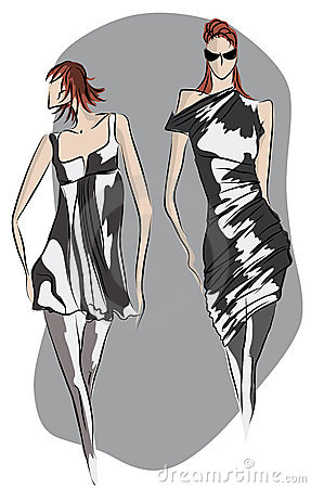Sketch of fashionable dresses