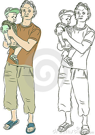 Sketch of father and son