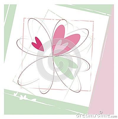 Sketch of flower in pastel colors