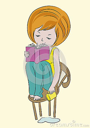 Sketch-girl-with-book-cup-color