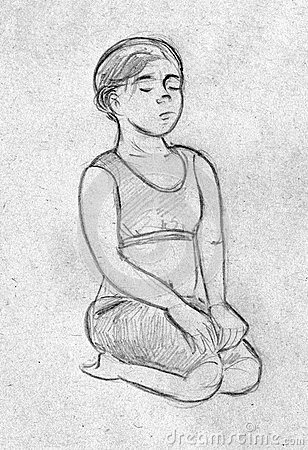 Sketch of a girl doing yoga