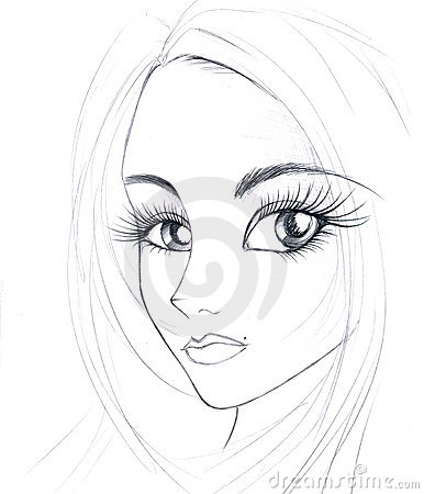 Sketch of girl s face