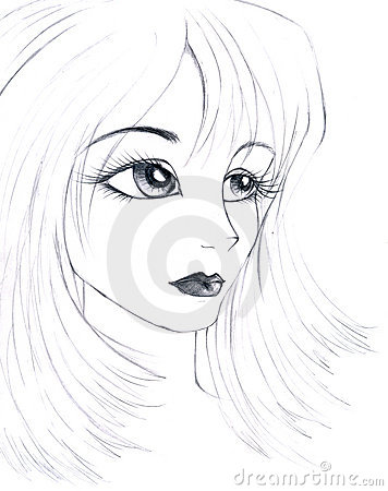 Sketch of a girl s face