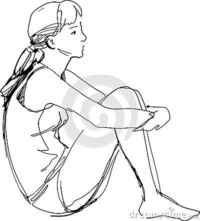 Anime Sit Hugging Legs Ensas