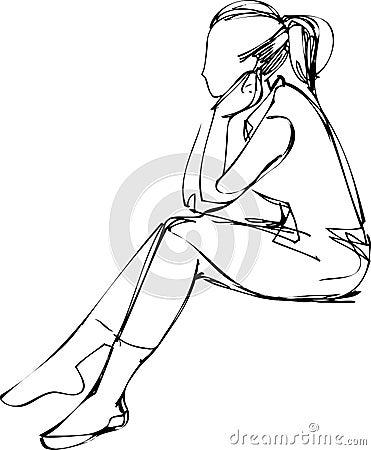 Девушка сидит боком рисунок
