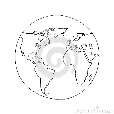 Free Sketch Globe World Map Black Vector Illustration Stock Photos - 46554193