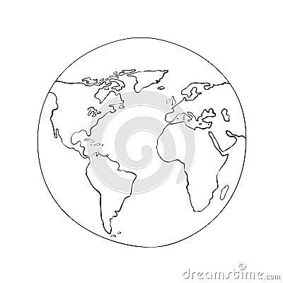 Sketch globe world map black vector illustration Vector Illustration