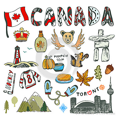 Free Sketch Hand Drawn Collection Of Canada Symbols. Canadian Culture Had Sketched Set. Vector Travel Illustration With Doodle Letterin Stock Photos - 70308093