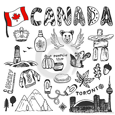 Free Sketch Hand Drawn Collection Of Canada Symbols. Canadian Culture Set Elements For Design. Vector Travel Illustration Royalty Free Stock Images - 55890529
